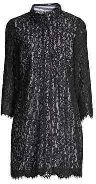 Vineyard Vines Solstice Stripe Lace Shift Shirt Dress