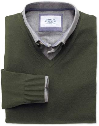 Charles Tyrwhitt Dark Green Merino V-Neck Wool Sweater Size Large