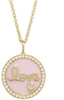 Sydney Evan Diamond Love and Pink Enamel Disc Necklace - Yellow Gold