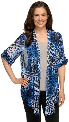 Susan Graver Printed Sheer Chiffon Cascade Front Cardigan with Pleats
