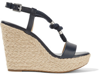 MICHAEL Michael Kors - Holly Rope-trimmed Leather Wedge Sandals - Storm blue $140 thestylecure.com