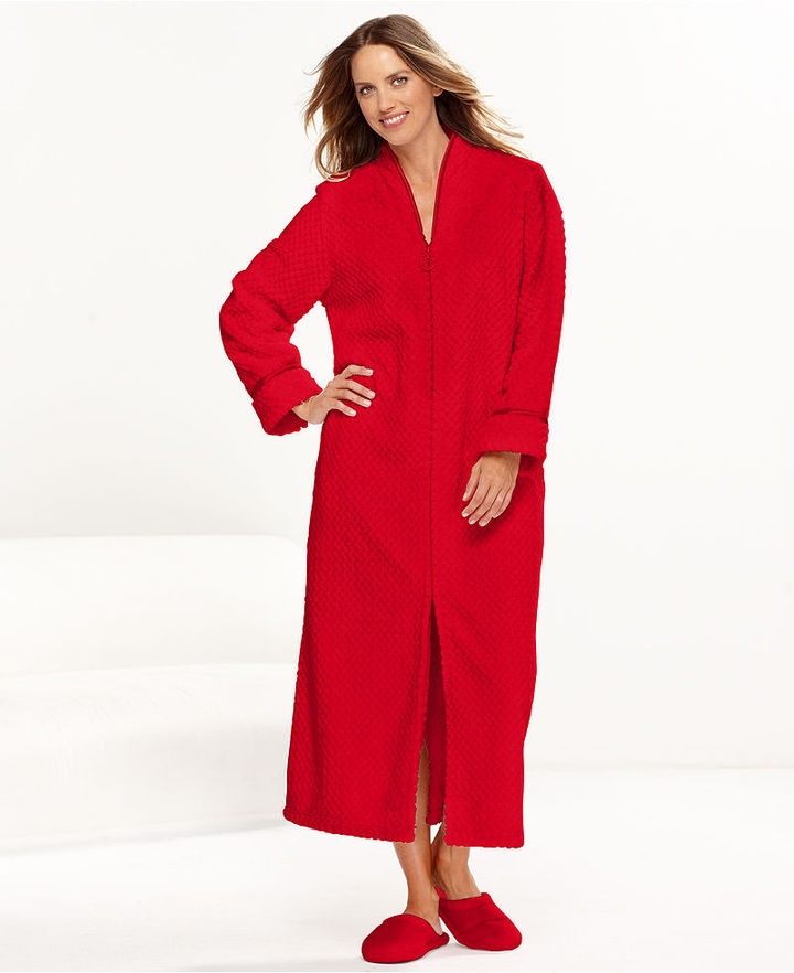 Charter Club Robe, Supersoft Dimple Long Zip Robe