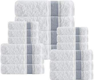 Enchante Unique 16Pcs Anthracite Stripe Towel Set