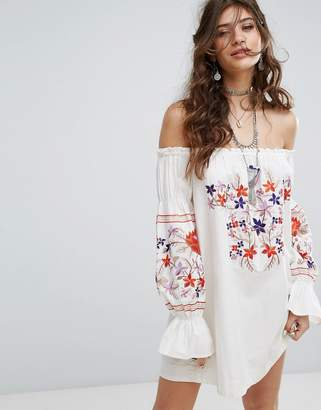 Free People Embroidered Off Shoulder Dress $153 thestylecure.com