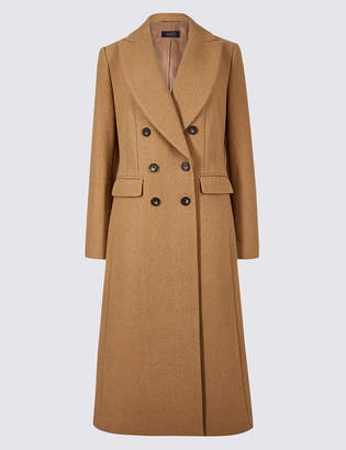 M&S Collection Wool Blend Double Breasted Coat