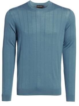 Emporio Armani Men's Vertical Stitch Wool Crewneck Sweater - Light Blue - Size Large