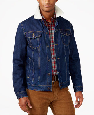 American Rag Men's Denim Trucker Jacket with Sherpa Collar, Only at Macy's $80 thestylecure.com