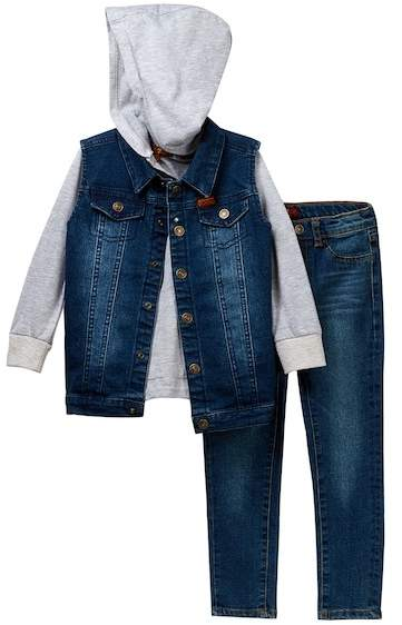 Vest, Hoodie, & Jean 3-Piece Set (Toddler Boys)