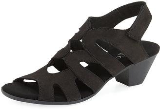 Sesto Meucci Philys Nubuck Grip-Strap Sandal, Black $139 thestylecure.com