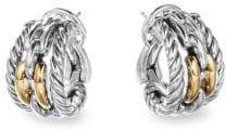 David Yurman Wellesley Sterling Silver & 18K Yellow Gold Chain Link Hoop Earrings