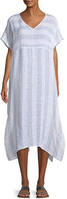 Eileen Fisher Gauze Striped Organic Linen V-Neck Dress, Petite