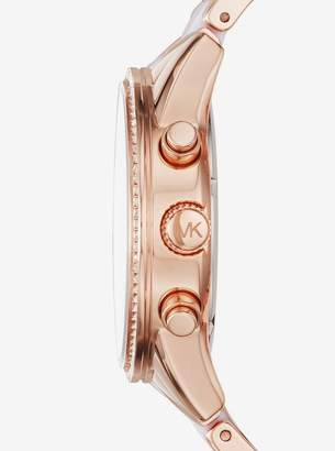 Michael Kors Ritz Pave Rose Gold-Tone and Acetate Watch