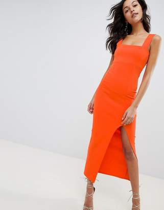Asos DESIGN square neck scuba maxi dress with thigh split