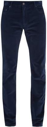 Slim-leg cotton-velvet trousers
