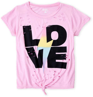 Flowers by Zoe Girls 7-16) Pink Graphic Dressed Knot Tee