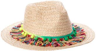 Marcus Collection Adler Raffia Straw Panama Hat With Fringe & Poms