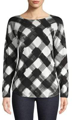 Context Ombre Plaid Boatneck Top