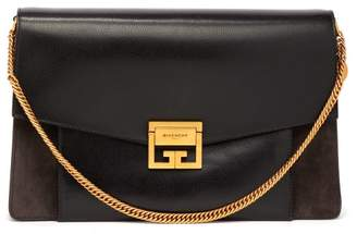 Givenchy Gv3 Large Suede And Leather Shoulder Bag - Womens - Black Grey