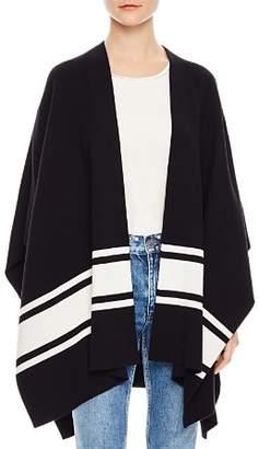 Sandro Flore Striped Poncho-Style Cardigan