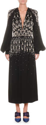 ATTICO Plunging Blouson-Sleeve Embellished A-Line Evening Gown