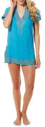 Flora Bella Paulo V-Neck Short-Sleeve Linen Tunic w/ Embroidered Brass Sequins