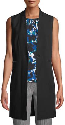 Iconic American Designer One-Button Faux-Leather Trim Vest