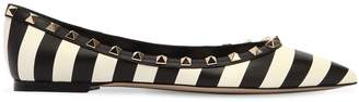 Valentino Rockstud Striped Leather Flats