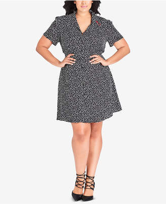 City Chic Trendy Plus Size Heart-Print Shirtdress