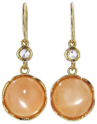 Irene Neuwirth Small Cabochon Peach Moonstone Earrings - Yellow Gold