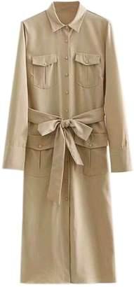 Goodnight Macaroon 'Alex' Khaki Belted Long-Sleeved Shirt Dress