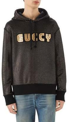 d9f327ea0e0 Gucci Foil-Print Guccy Block Logo Hoodie