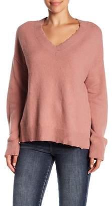 Melrose and Market Destroyed Detail V-Neck Sweater