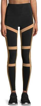 Norma Kamali Spliced High-Waist Contrast Leggings