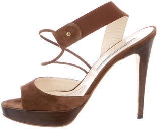 Brian Atwood Suede Peep-Toe Platform Sandals $85 thestylecure.com