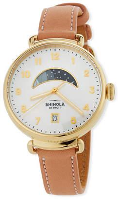 Shinola 38mm Canfield Day/Night Leather Watch