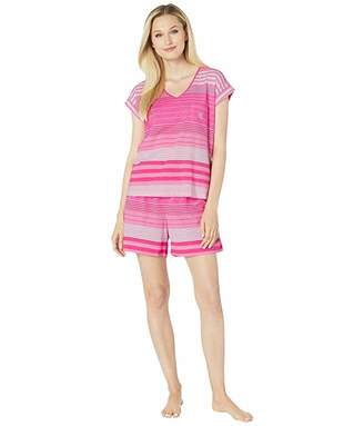 Lauren Ralph Lauren Short Sleeve Dolman Sleeve V-Neck Boxer Pajama Set