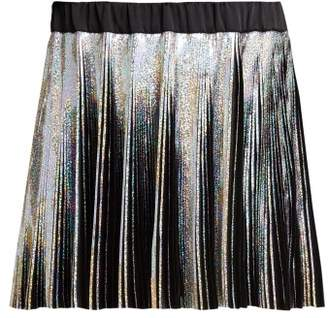 Balmain Holographic Pleated Voile Mini Skirt - Womens - Black Multi