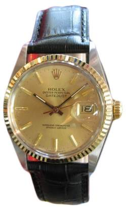 Rolex Oyster Perpetual Datejust 18K Gold Stainless Steel Gold Dial Mens Watch