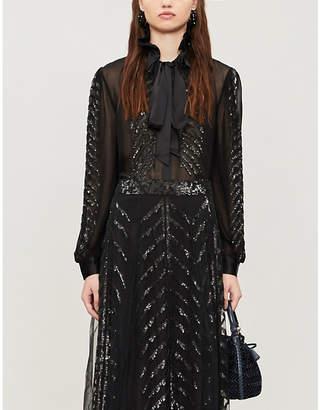Temperley London Dusk ruffled high-neck sequinned crepe blouse