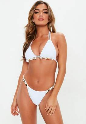 Missguided White Buckle Detail Double Strap Bikini Top