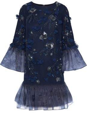 Marchesa Organza-Paneled Embellished Tulle Mini Dress