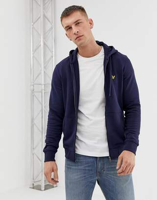 Lyle & Scott zip thru hoodie eagle logo in navy