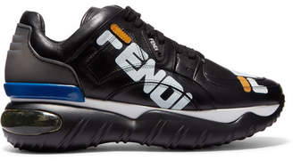 Fendi Logo-print Leather And Rubber Sneakers - Black
