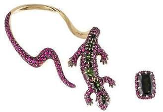 H.Stern 18K Diamond, Ruby & Tourmaline Salamander Ear Climber Set