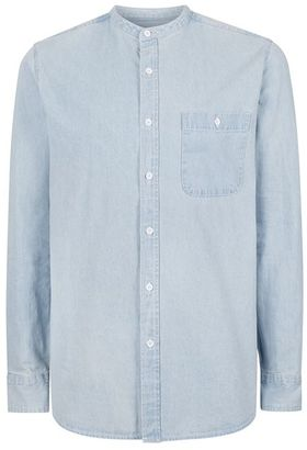 Blue Bleach Wash Stand Collar Denim Shirt $55 thestylecure.com