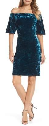 Eliza J Off the Shoulder Velvet Dress
