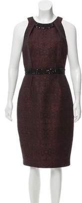 Carmen Marc Valvo Brocade Embellished Midi Dress