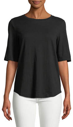 Eileen Fisher Half-Sleeve Slubby Organic Cotton Top, Plus Size