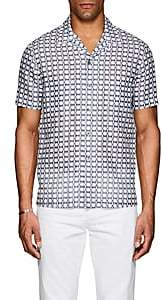 Giorgio Armani Men's Abstract Linen-Cotton Shirt - White Pat.
