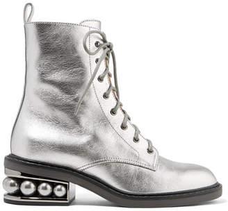 Nicholas Kirkwood Casati Embellished Metallic Textured-leather Ankle Boots